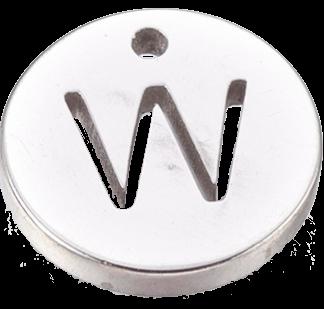 Deze bedel van roestvrijstaal is te koop bij kralenwinkel Limited Edition in Den Haag in de kleur zilver in de vorm W.