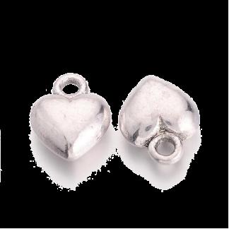 Deze bedel in de vorm van een hartje is te koop bij kralenwinkel Limited Edition in de kleur antiek zilver.