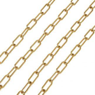 Deze RVS schakel ketting is te koop bij kralenwinkel Limited Edition in Den Haag in de maat 17x7mm in de kleur goud.