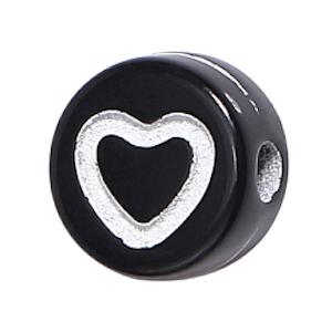 Deze wit zwart acryl letter kralen zijn te koop bij kralenwinkel Limited Edition in Den Haag in de vorm van een hartje.