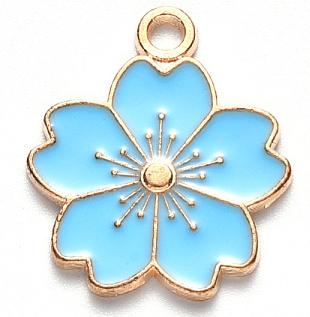Deze zomerse gekleurde bloem bedel is te koop bij kralenwinkel Limited Edition in Den Haag in de kleur blauw.