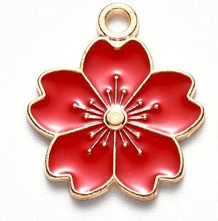 Deze zomerse gekleurde bloem bedel is te koop bij kralenwinkel Limited Edition in Den Haag in de kleur rood.
