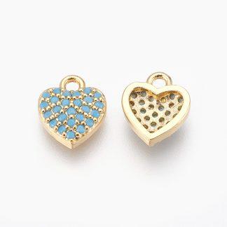 Deze bedel in de vorm van een hartje is te koop bij kralenwinkel Limited Edition in de kleur blauw met goud.