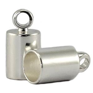 In deze eindkapjes van Designer Quality passen koorden van 4mm dik en zijn te koop bij kralenwinkel Limited Edition in Den Haag in de kleur zilver.