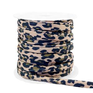 Dit elastichse gestikte Ibiza 5mm lint is te koop bij kralenwinkel Limited Edition in Den Haag in de kleur luipaard bruin/zwart.