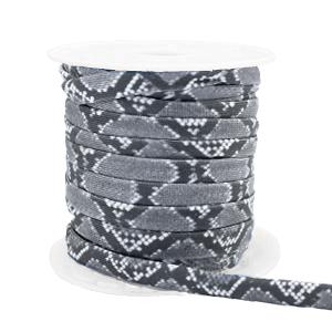 Dit elastichse gestikte Ibiza 5mm lint is te koop bij kralenwinkel Limited Edition in Den Haag in de kleur slang grijs.
