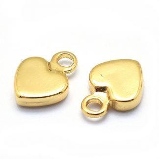 Deze bedel in de vorm van een hartje is te koop bij kralenwinkel Limited Edition in de kleur goud.