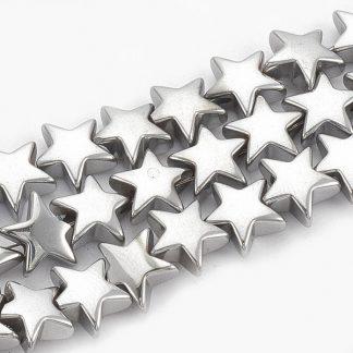 Deze Hematiet kralen in de vorm van een ster zijn te koop bij kralenwinkel Limited Edition in Den Haag.