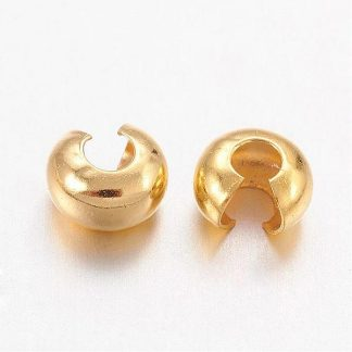 Deze knijpkraal verbergers zijn ideaal om je sieraden netjes mee af te werken en zijn te koop bij kralenwinkel Limited Edition in de maat 3mm in de kleur goud.