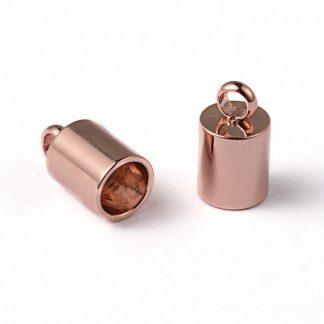 In deze RVS eindkapjes passen koorden van 5mm dik en zijn te koop bij kralenwinkel Limited Edition in Den Haag in de kleur rose goud.