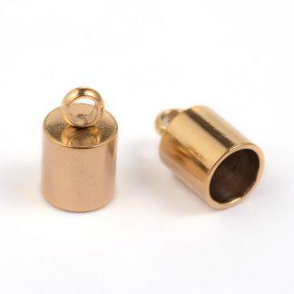In deze RVS eindkapjes passen koorden van 5mm dik en zijn te koop bij kralenwinkel Limited Edition in Den Haag in de kleur goud.
