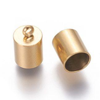 In deze RVS eindkapjes passen koorden van 6mm dik en zijn te koop bij kralenwinkel Limited Edition in Den Haag in de kleur goud.
