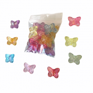 Deze acryl kralen in de vorm van vlinders zijn te koop bij kralenwinkel Limited Edition in Den Haag.