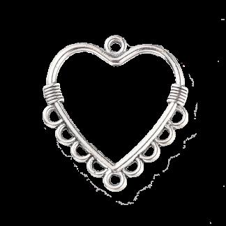 Dit tussenstuk in de vorm van een hartje is te koop bij kralenwinkel Limited Edition in de kleur zilver.