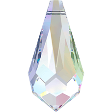 De 6000 drop pendant van Swarovski heeft een gat en is te koop bij kralen winkel Limited Edition in Den Haag in de kleur Crystal AB.