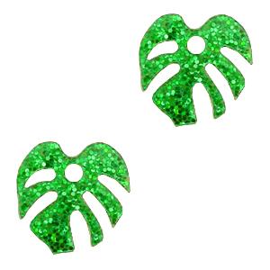 Deze plexx glitter bedel in de vorm van een blad is te koop bij kralenwinkel Limited Edition in de kleur groen.