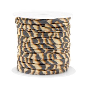 Dit elastichse gestikte Ibiza 5mm lint is te koop bij kralenwinkel Limited Edition in Den Haag in de kleur tijger.