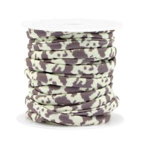 Dit elastichse gestikte Ibiza 5mm lint is te koop bij kralenwinkel Limited Edition in Den Haag in de kleur giraf.