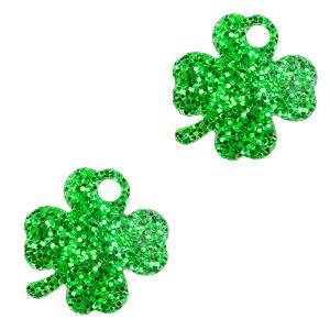 Deze plexx glitter bedel in de vorm van een klavertje vier is te koop bij kralenwinkel Limited Edition in de kleur groen.