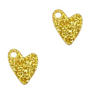 Deze plexx glitter bedel in de vorm van een hartje is te koop bij kralenwinkel Limited Edition in de kleur goud.