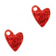 Deze plexx glitter bedel in de vorm van een hartje is te koop bij kralenwinkel Limited Edition in de kleur rood.