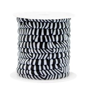 Dit elastichse gestikte Ibiza 5mm lint is te koop bij kralenwinkel Limited Edition in Den Haag in de kleur zebra.