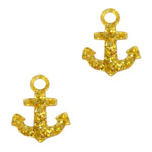 Deze plexx glitter bedel in de vorm van een anker is te koop bij kralenwinkel Limited Edition in de kleur goud.