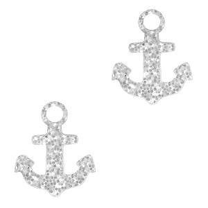 Deze plexx glitter bedel in de vorm van een anker is te koop bij kralenwinkel Limited Edition in de kleur zilver.
