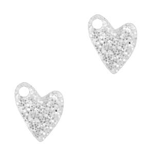 Deze plexx glitter bedel in de vorm van een hartje is te koop bij kralenwinkel Limited Edition in de kleur zilver.