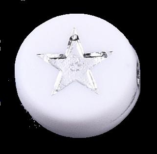 Deze wit zilveren acryl letter kralen zijn te koop bij kralenwinkel Limited Edition in Den Haag in de vorm van een ster.