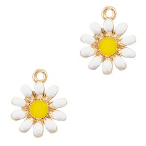 Deze zomerse gekleurde bloem bedel is te koop bij kralenwinkel Limited Edition in Den Haag in de kleur wit.