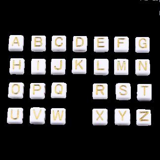 Deze wit gouden acryl letter kralen zijn te koop bij kralenwinkel Limited Edition in Den Haag.