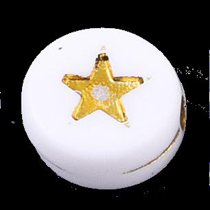 Deze wit gouden acryl letter kralen zijn te koop bij kralenwinkel Limited Edition in Den Haag in de vorm van een ster.