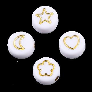 Deze wit gouden acryl letter kralen zijn te koop bij kralenwinkel Limited Edition in Den Haag in verschillende vormen.