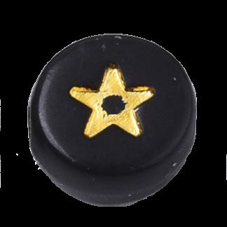 Deze zwart gouden acryl letter kralen zijn te koop bij kralenwinkel Limited Edition in Den Haag in de vorm van een ster.