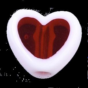 Deze acrylkraal in de vorm van een hartje is te koop bij kralenwinkel Limited Edition in Den Haag in de kleur donker rood.