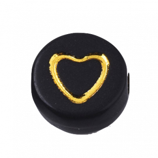 Deze zwart gouden acryl letter kralen zijn te koop bij kralenwinkel Limited Edition in Den Haag in de vorm van een open hart.