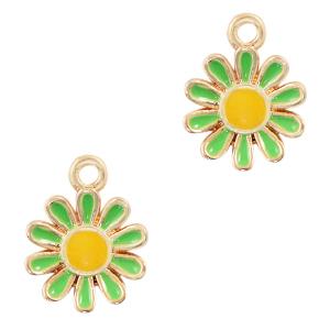 Deze zomerse gekleurde bloem bedel is te koop bij kralenwinkel Limited Edition in Den Haag in de kleur groen.