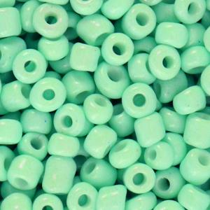 Deze leuke budget rocailles zijn ideaal om hippe sieraden te maken en zijn te koop bij kralenwinkel Limited Edition in Den Haag in de kleur licht groen.