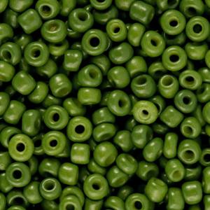 Deze leuke budget rocailles zijn ideaal om hippe sieraden te maken en zijn te koop bij kralenwinkel Limited Edition in Den Haag in de kleur mos groen.