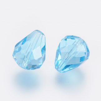 Deze glazen facet druppel kralen zijn te koop bij kralenwinkel Limited Edition Den Haag in de kleur aquamarine.