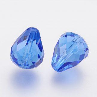 Deze glazen facet druppel kralen zijn te koop bij kralenwinkel Limited Edition Den Haag in de kleur sapphire.
