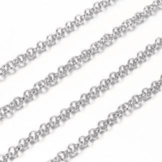 Deze jasseron ketting is te koop bij kralenwinkel Limited Edition in Den Haag in de maat 3x1mm in de kleur antiek zilver.