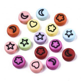 Deze gekleurde acryl letter kralen zijn te koop bij kralenwinkel Limited Edition in Den Haag in de vorm van gemixte vormen.