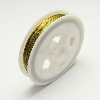 Gecoat staaldraad in de kleur goud kan gekocht worden bij kralen winkel Limited Edition in Den Haag.