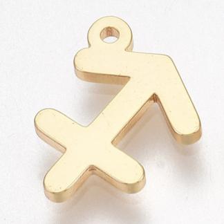 Deze bedel van roestvrijstaal is te koop bij kralenwinkel Limited Edition in Den Haag in de kleur goud in de vorm boogschutter.