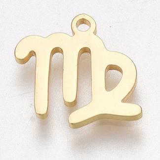 Deze bedel van roestvrijstaal is te koop bij kralenwinkel Limited Edition in Den Haag in de kleur goud in de vorm maagd.