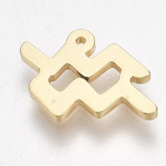 Deze bedel van roestvrijstaal is te koop bij kralenwinkel Limited Edition in Den Haag in de kleur goud in de vorm waterman.
