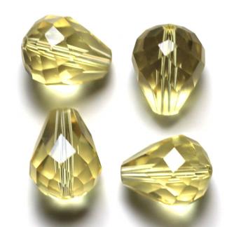 Deze glazen facet druppel kralen zijn te koop bij kralenwinkel Limited Edition Den Haag in de kleur jonquil.