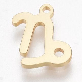 Deze bedel van roestvrijstaal is te koop bij kralenwinkel Limited Edition in Den Haag in de kleur goud in de vorm steenbok.